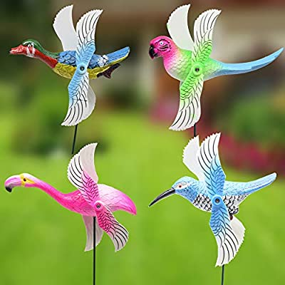 FENELY 4Pcs Bird Garden Wind Spinners Decor Stakes with Windmill, Durable Garden Ornaments Outdoor Decorations for Patio Lawn Yard