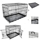 TAHA ® Dog Pet Training Transport crate Fold Flat cage Removable Tray Medium