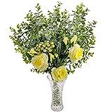 Fleurs Artificielles avec Vase - Jaune Soie Roses et Fausses Eucalyptus - Bouquet Artificiel avec Fausses Fleurs, Feuilles et Branchages avec Baies pour Mariage, Décorations, Arrangements Floraux