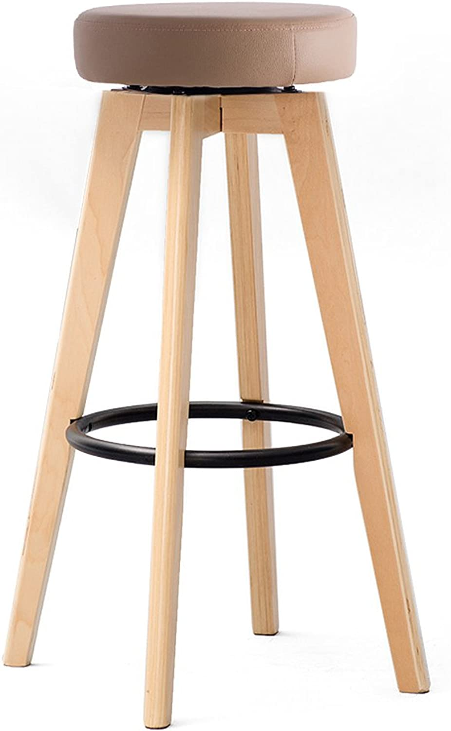 Modern Wooden Round Swivel Bar Stool with Iron Footrest, Wood Kitchen Counter Height Bar Stool, 30 inch High Barstool with PU Cushion (color   Natural)