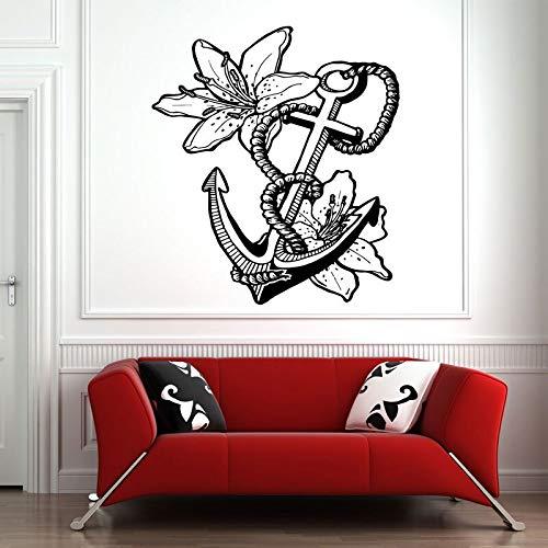 Cuerda de ancla de mar Flor de lirio Pared Etiqueta de vinilo costera Calcomanías Mural Diseño de habitación Patrón Arte Náutico Decoración del hogar Sala de estar 42 * 47 cm