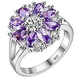 KnBoB 925 Silber Ring Blumen mit Lila Zirkonia Trauringe Hochzeit Größe 57 (18.1)