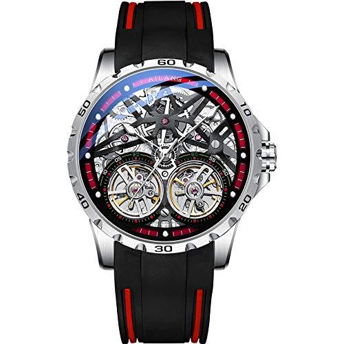 YPSMCYL Ailang Original Design Herrenuhr Doppel Tourbillon Automatische Mechanische Uhr Silikonarmband Hohluhr,Silvershellredcircle