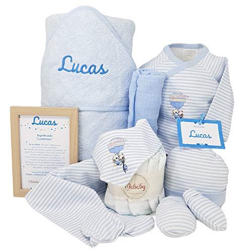 Mi Capa de Mababy, Cesta Bebé con Toalla de Recién Nacido PERSONALIZADO con el nombre, set de Primera Puesta y Tarta Pañales… (Azul Talla 0)