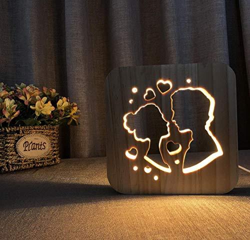3D night light solid wood carving hollow creative craft LED table lamp(Couple)