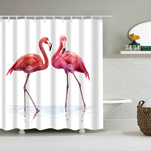 WTL Rideaux de douche Rideaux de douche Flamingo Pattern Waterproof Quick To Dry Matériaux respectueux de l'environnement Metal Hook Hanging Hole (taille : 180 * 180cm)
