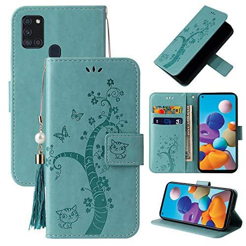 Miagon Brieftasche Flip Hülle für Samsung Galaxy M31,Schön Schmetterling Baum Katze Design PU Leder Buch Stil Stand Funktion Handyhülle Case Cover,Grün