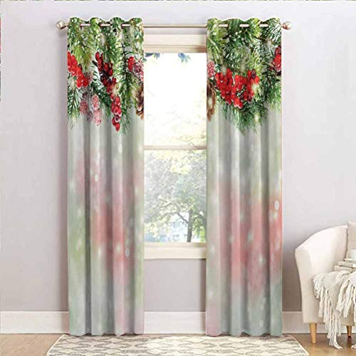ScottDecor Christmas Privacy Window Curtains for Print Curtains Evergreen Fir Branches with Red Ripe Holly Berries Blurred Backdrop Garland Red Green Brown 100' W x 108' L