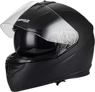 Triangle Full Face Motorcycle Helmets Dual Visor Street Bike (Small, Matte Black)