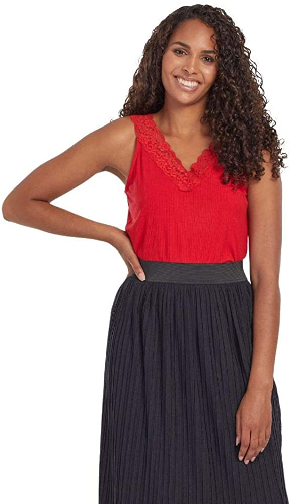 Tribal Women's V Neck Cami W/Lace-red Haute