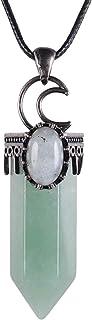 قلادة نبوياي العتيقة شفاء كريستال نقطة للنساء الرجال، قلادة حجر سداسي مع مجوهرات Labradorite Reiki بيضاوية