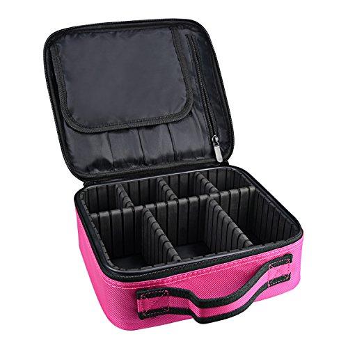 DCCN Kosmetikkoffer Reise Beauty Case Kosmetiktasche Organizer Make up Tasche Klein mit Griff mit Einstellbaren Teile Pink