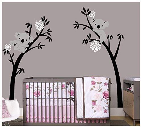Bdecoll Aufkleber / Baum mit 3 Koalas, Vinyl-Sticker für Kinderzimmer / Kindergarten weiß