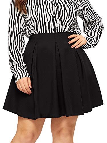 SheIn Women's Plus Size Basic Plain Grid Flared Skater Mini Short Skirt (2X-Large, Black)
