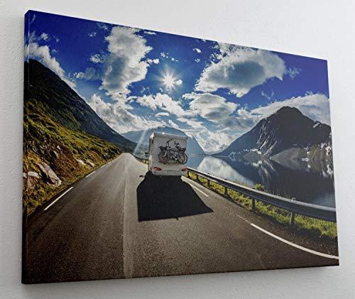 Wohnwagen Camping Wohnmobil Gebirge Leinwand Bild Wandbild Kunstdruck L0582 Größe 70 cm x 50 cm