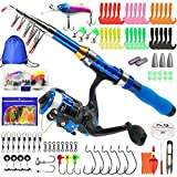 Kilitn Kids Fishing Rod, Portable Telescopic Fishing Pole and Reel Combos and String with Fishing Line Full Kits, Youth Fishing Pole Fishing Gear for Kids, Boys, Girls, and Adults