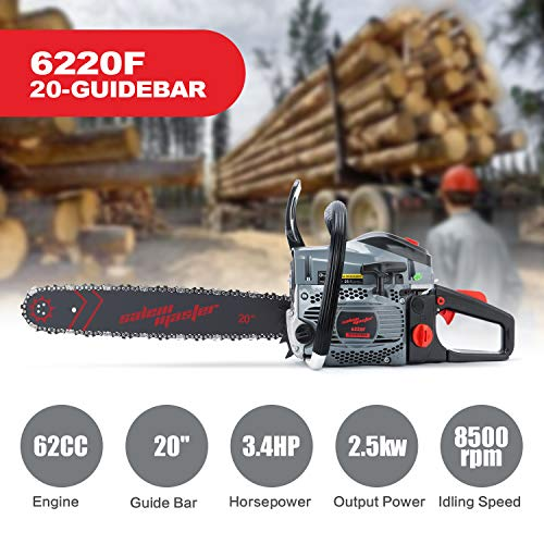 SALEM MASTER Gas Chainsaw 20 Inch, 62CC 2-Cycle Chainsaw, Gas Powered Chainsaw with 20