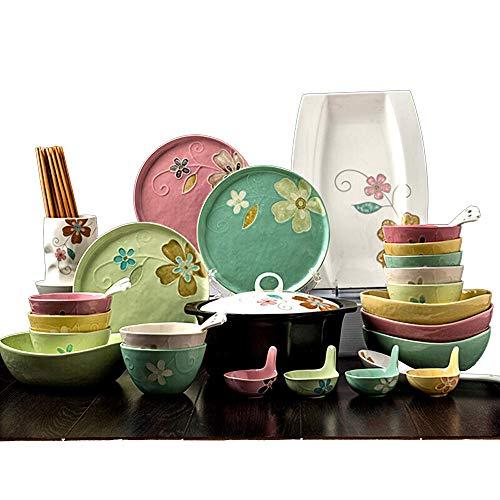 GAXQFEI Juego de platos de cerámica pintados a mano, vajilla simple de porcelana japonesa de 46 piezas con cuchara para platos, servicio para 4-10, regalo para amigos y hogar