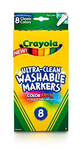 Crayola Ultra-Clean Washable Markers, Color Max, Fine Line Classic Colors 8 Ea (Pack of 12)