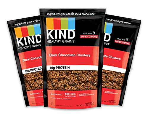 KIND Healthy Grains Clusters, Dark Chocolate Granola, Gluten Free, 10g Protein, 11 Ounce (Pack of 3)