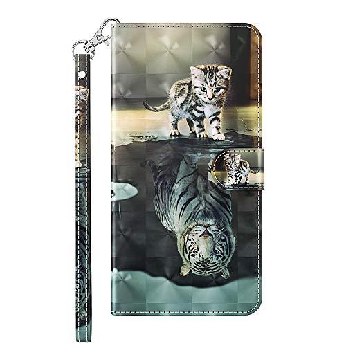 Capa carteira XYX para LG Q6/LG Q6 Plus, capa carteira flip colorida de couro PU com compartimentos para cartão e alça de pulso, gato tigre