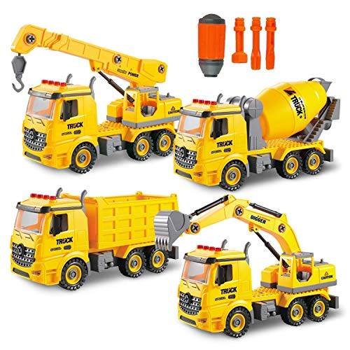 Toy To Enjoy 4-in-1 STEM Learning Construction Truck Toy – Builds Dump Truck, Cement Mixer, Excavator & Crane for Kids Ages 7 in Up
