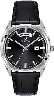 Bulova - Reloj para Hombre del da de la Fecha Correa de Cuero Negro dial 96c128