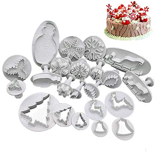 HomeyHouse 22 Pieces Fondant Cake Cookie Plunger Cutter Sugarcraft Snowflake Christmas Tree Leaf Shape Decorating Mold DIY Tools