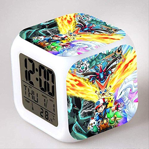 FCH-GY Pokemon Go Pet Pokemon Reloj Despertador Regalo para niños para Colorear Colorido Reloj Despertador 13 Despertador