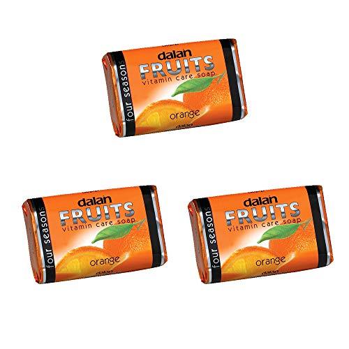 Packung mit 3, Dalan Früchte Pflege Seife Orange 75g
