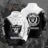 Xiaolimou Fútbol Broncos, Chargers, Chiefs, Raiders Sudadera Hombre, Pull-Over Sudadera con Capucha De Manga Larga, Regalos para Aficionados Al Rugby,Raiders,L