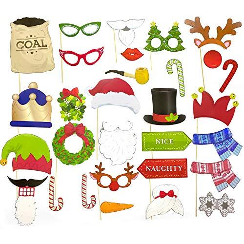 Fiesta de Navidad Apoyos de Photo Booth, Accesorios de fotografía Xmas, Accesorios Photobooth de Navidad, Navidad Photo Booth Props, Photocall Accesorios, Navidad Accesorios de Cabina de Fotos
