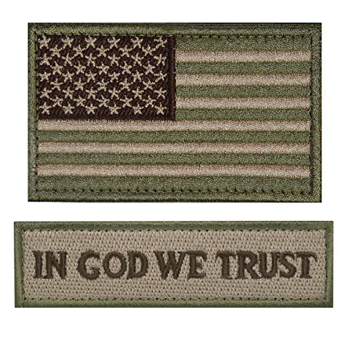 ELLEWIN Tactical Morale Patch USA Flag Don't Tread On Me in God We Trust (Multitan(USA Flag+in GOD WE Trust))