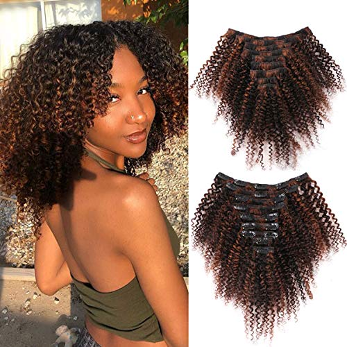 Bohemian Curly Clip in Hair Extensions Human Hair 3C 4A Short Afro Kinky Curly Clip ins 12 inch Thick Remy Hair Extensions for Black Women 9Pcs 100G 20 Clips Full Head (P1B/30#)