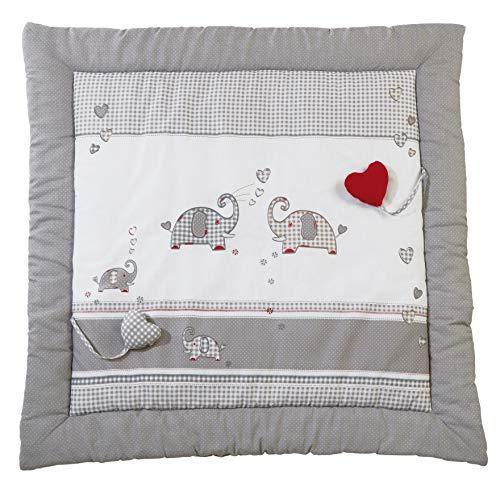 roba Spiel- & Krabbeldecke 'Jumbotwins', Baby's gepolsterte Spielunterlage / Laufgittereinlage 100x100cm, 100% Baumwolle, inkl. Baby-Spielzeug
