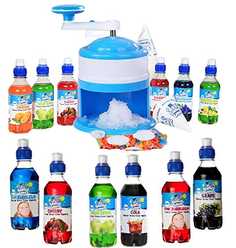 Snowy Cones Snow Cone Machine, Manual, Plus 12 Bottles of Snow Cone Syrups, 25 Straw Spoons and 25 Paper Cones