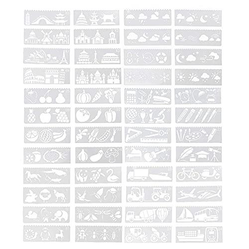 LIXBD 6 juegos/48 plantillas de plantillas ahuecadas PET plástico dibujo pintura plantilla para proyectos de manualidades, cuaderno, decoración de cumpleaños, fiesta de cumpleaños, color blanco