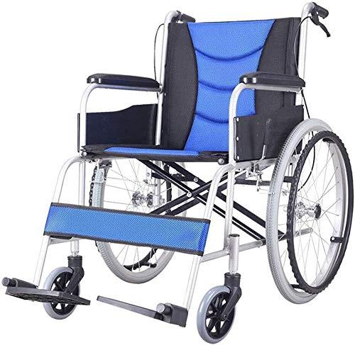 Wheelchair H-Rollstuhl Faltrollstuhl HJH-Rollstuhl Faltbar - Leicht Faltbare Rollstühle - Verstellbare Und Einfach Zu Release Fußstützen, Sicherheits Kippschutz, Wiegt Nur 25 Lbs Eigenantrieb