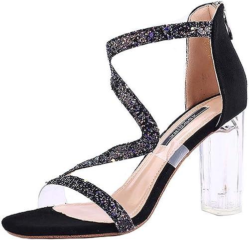 Été Nouveau Talon épais avec des Sandales Femme Mot avec des Chaussures en Cristal Transparent Net Rouge Sauvage Chaussures Femmes Pompes Femmes (Couleur   noir, Taille   36)