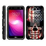 TurtleArmor   Compatible with LG X Power 2 Case   LG Fiesta 2   LG X Charge [Hyper Shock] Hybrid Dual Layer Armor Holster Belt Clip Case Kickstand - US Flag Skull
