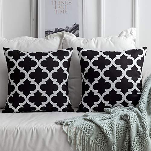 MIULEE 2er Pack Leinenoptik Home Dekorative Kissenbezug Geometrisches Kissen Kissenhülle für Sofa Schlafzimmer Auto mit Reißverschlüsse Schwarz 18 x 18 inch 45 x 45 cm