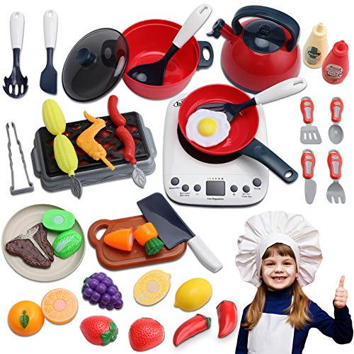 35 PCS Kitchen Pretend Play Accessories, Role Play Cutting Fruits Vegetables Food Toy & Cooking Set, Cookware Pots and Pans Playset, BBQ Toy, Cooking Utensils Accessories for Toddler Kids Girls Boys