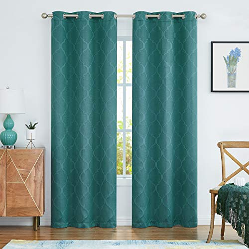 Grommet Blackout Curtains 95 Inches Long, Jacquard Woven Moroccan Geo Narrow Window Treatment Drapes for Bedroom, Teal Green, 40x95, 2 Panels