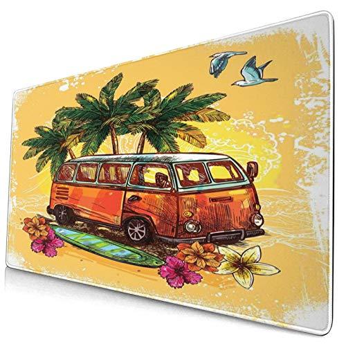 HUAYEXI Alfombrilla Gaming,Hippie,clásico,Viejo,autobús,con,Tabla de Surf,Libertad,Vacaciones,exótico,Vida,Bosquejo,Arte,con Base de Goma Antideslizante,750×400×3mm