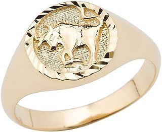 10K Yellow Gold Zodiac Men Women Unisex Jewelry Ring