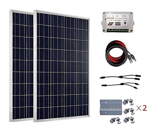 ECO-WORTHY Kit de panel solar completo de 200 W para 12V 24V Cargador de batería: 2 paneles solares de 100W + cable solar + 15A controlador de carga PWM + conectores de rama MC4 + soportes de montaje Z