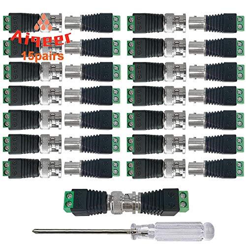 Aiqeer 15 Pares BNC Macho Hembra Conector Adaptador, BNC Video Balun Conector Adaptador, BNC Tornillo Terminal Bloque Video Conector, para Coaxial Cat5/CAT6, CCTV