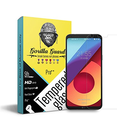 Gorilla guard Pro series with HD ultra clear edge to edge 8H hardness, UV protect and anti-smudge technology tempered glass phone protector for LG Q6