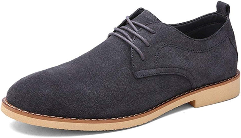 ZHRUI Men Genuine Leather shoes Business Flats Solid Fashion Black Popular Casual Dress Oxford shoes (color   Grey, Size   5.5UK=39EU)