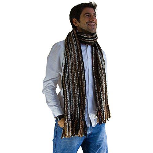 Tumia LAC - Bufanda de lujo extra larga y gruesa a rayas - Hecha a mano y muy cálida - Marrón